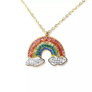 Gold Pave Rainbow Necklace